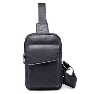 Korean fashion mens chest bag backpack genuine leather