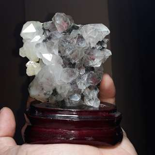 Hematite included Quartz Cluster with Epidote Crystals