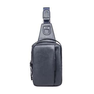 Korean fashion chest bag for mens genuine leather