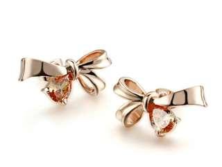 Elegant Bowknot Crystal Rose gold Colour