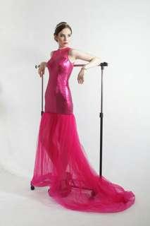 Fushia sequins long dress