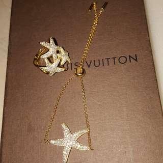 黃色海星鋯石戒指手鍊組