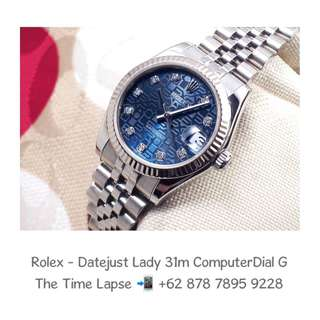 Rolex - Datejust Lady 31m, Diamonds Blue Index with Computer Dial Stainless Steel 'G'