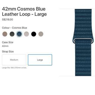 Apple Watch Strap 42mm Cosmo Blue Leather Loop -Large