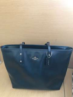 Coach Navy Metallic City Bag 手袋 (100% New and Real)