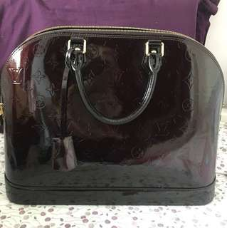 Lv alma patent leather bag