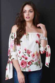 White off shoulder floral blouse