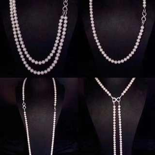 爆單!這是一款萬能的毛衣鏈![呲牙][呲牙][呲牙]一條8字項鍊,多種佩戴方式[得意][得意][得意]天然淡水珍珠7~8mm特惠僅1299一條,任何人不還價不包郵!一款多用!