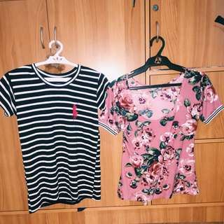 Pink Floral Top and Black&White Stripes Shirt