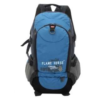 Flame horse unisex travel canvas backpack