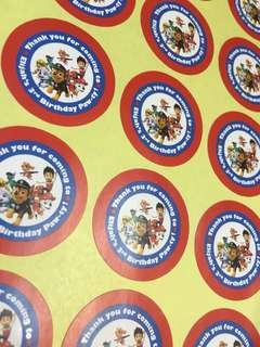 Red Blue Paw Patrol Birthday 30pc Stickers