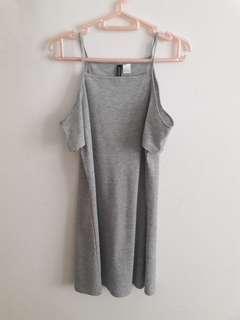 H&M grey open shoulder dress