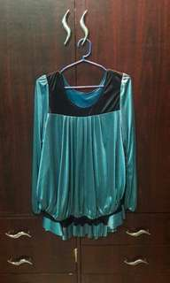 Blouse with Ruffles Design (Blue Green)
