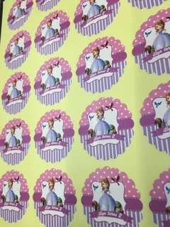 Sofia Princess Kids Birthday Stickers - Custom Message