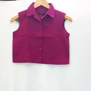Preloved Colorbox Crop Shirt - Fuschia
