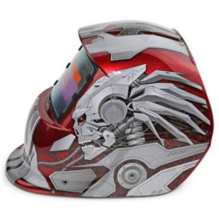SOLAR ENERGY AUTOMATIC CHANGEABLE LIGHT ELECTRIC WELDING PROTECTIVE HELMET WITH HERO CHARACTER PATTERN (RED)