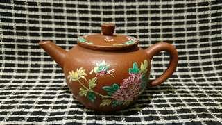 宜興紫砂茶壺,彩釉