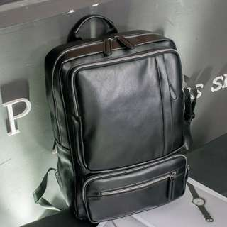 Korean mens backpack Quality PU leather