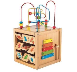 Safari wooden activity cube