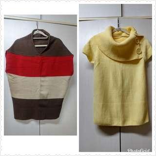 🚚 2件一起出清 黃色高領短袖毛衣(F)+配色造型短袖毛衣(F)