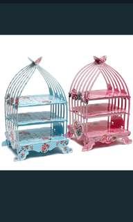 Birdcage cupcake cardboard cake stand vintage wedding tea party display
