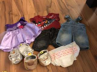 Build a bear clothes, shoes and diaper