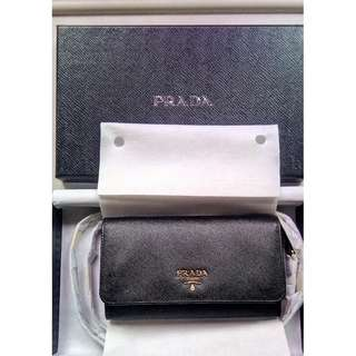 BRAND NEW  PRADA Saffiano Wallet with leather shoulder strap Bag