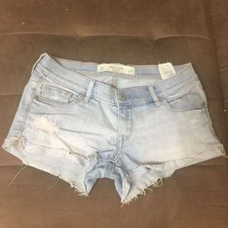 Abercrombie & fitch denim distressed shorts