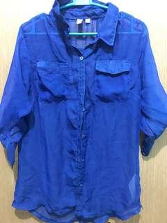 Penshoppe Blue See-Through Button Down