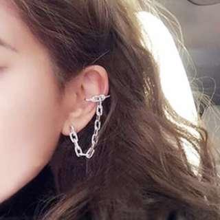 純銀鋯石鍊耳夾耳環