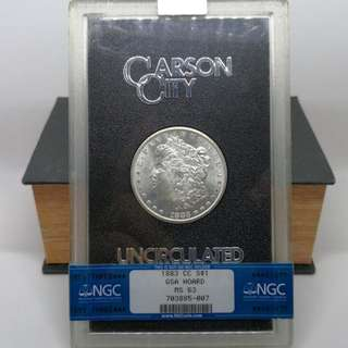 1883 CC Morgan Dollar in original GSA Holder NGC 63
