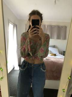 Flared toe up floral top