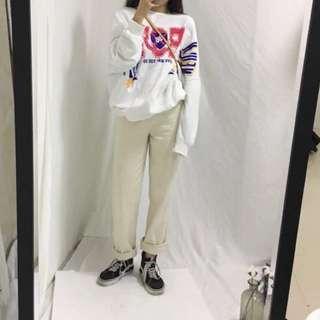 白色 直筒牛仔褲 寬褲