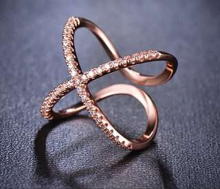 Rose Gold X Ring with zirconia