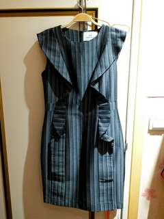 🚚 HIDESAN設計師品牌灰黑造型洋裝~M號