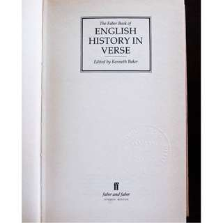 The Faber Book of English History in Verse edited by Kenneth Baker