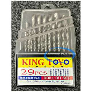 "King Toyo HSS Drill Bit Set 29 Pcs (1/16"" TO 1/2"")"