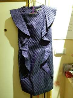 🚚 HIDESAN設計師品牌紫黑造型洋裝~M號