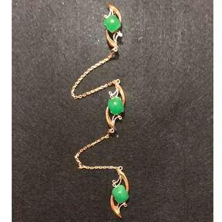 Peranakan Nonya vintage costume jewellery jade kerosang