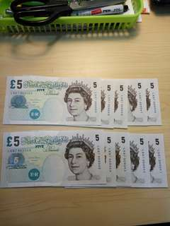England 5 pounds 10run LK67 909041-50 UNC Queen Elizabeth II