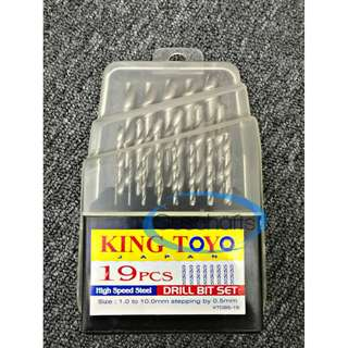 King Toyo HSS Drill Bit Set 19 Pcs 1mm to 13mm