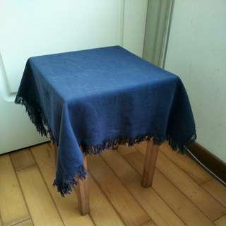 【銅板價50】深藍色方形麻質野餐墊.桌布
