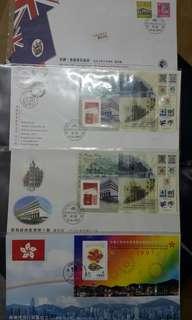 Hong kong post stamp 香港郵政郵票套摺首日封 尾日封香港殖民政府香港回歸共4個