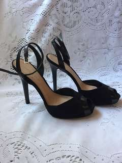 Charles and Keith Black High Heeled Sandals