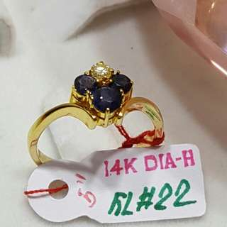 diamond ring with 14k gold italy