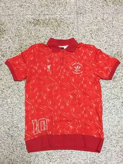 100% Authentic Adidas Polo T Shirt Jersey with Kenny Dalgish Testimonial & LFC Crest Embroidered Liverpool