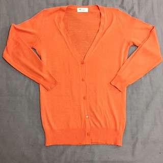 🚚 長版 韓貨 木棉花紅 柑橘色開襟針織毛衣外套