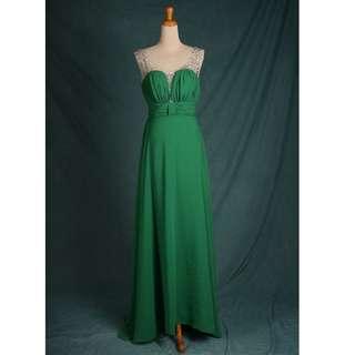 🚚 七到八成新 二手禮服 綠色雪紡提肩帶鑽 後綁帶設計 gowns wedding dress T區