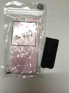 全新 iPhone 6/6s 4.7 粉紅色貝母手機殼+指環