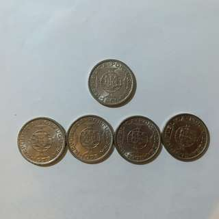 【錢幣收藏】澳門舊硬幣:1圓(5個)